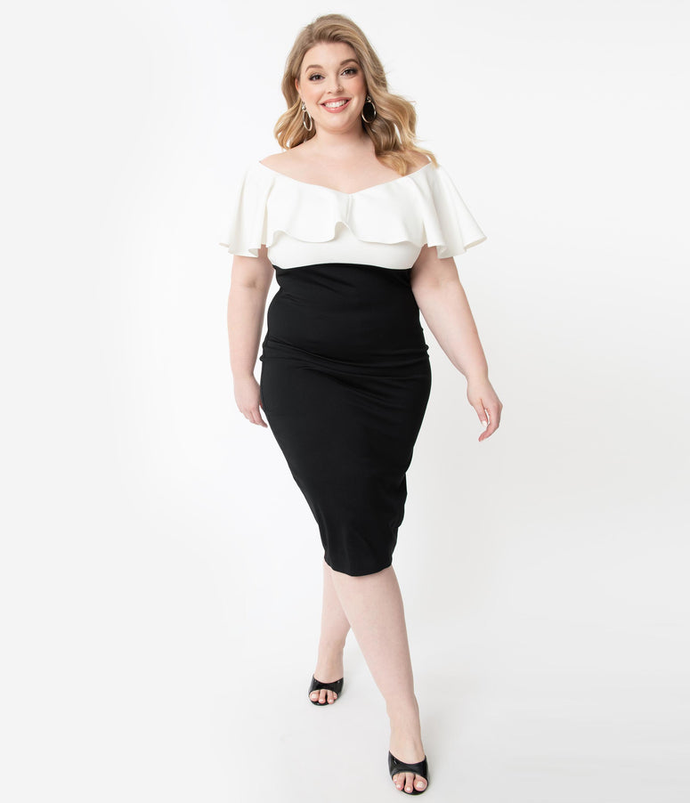Unique Vintage Plus Size Black & White Colorblock Ruffle Lilith Wiggle Dress