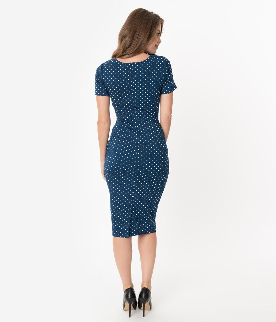 Unique Vintage 1960s Navy & White Pin Dot Short Sleeve Mod Wiggle Dress