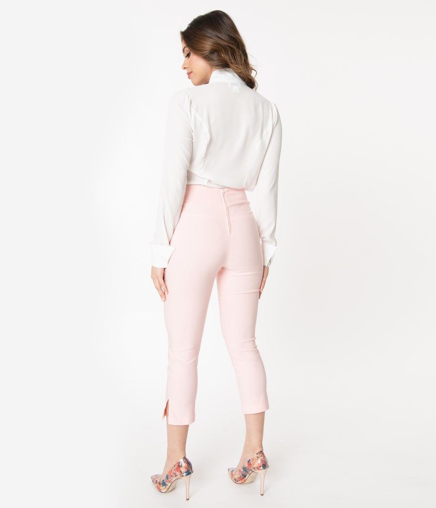 Unique Vintage Light Pink High Waist Rachelle Capri Pants
