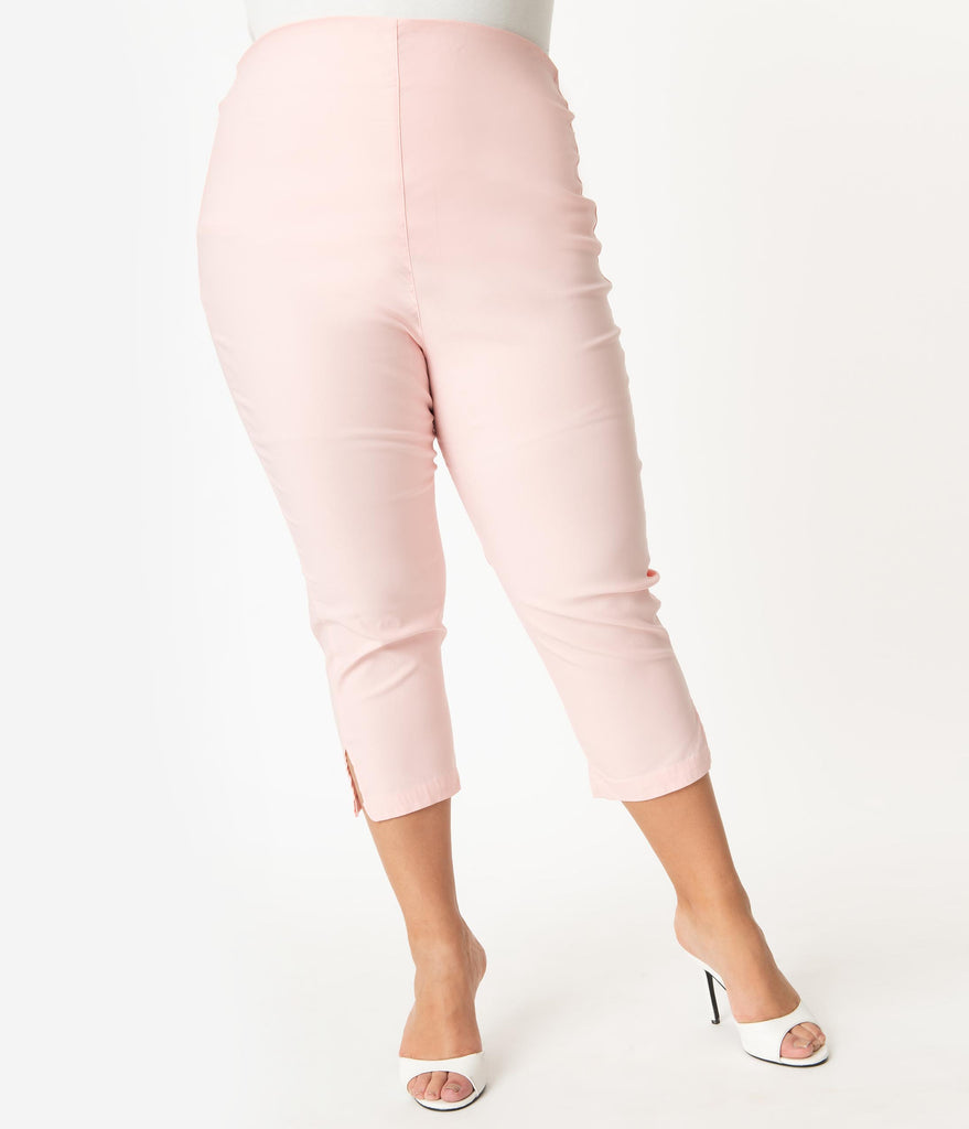 Unique Vintage Plus Size Light Pink High Waist Rachelle Capri Pants