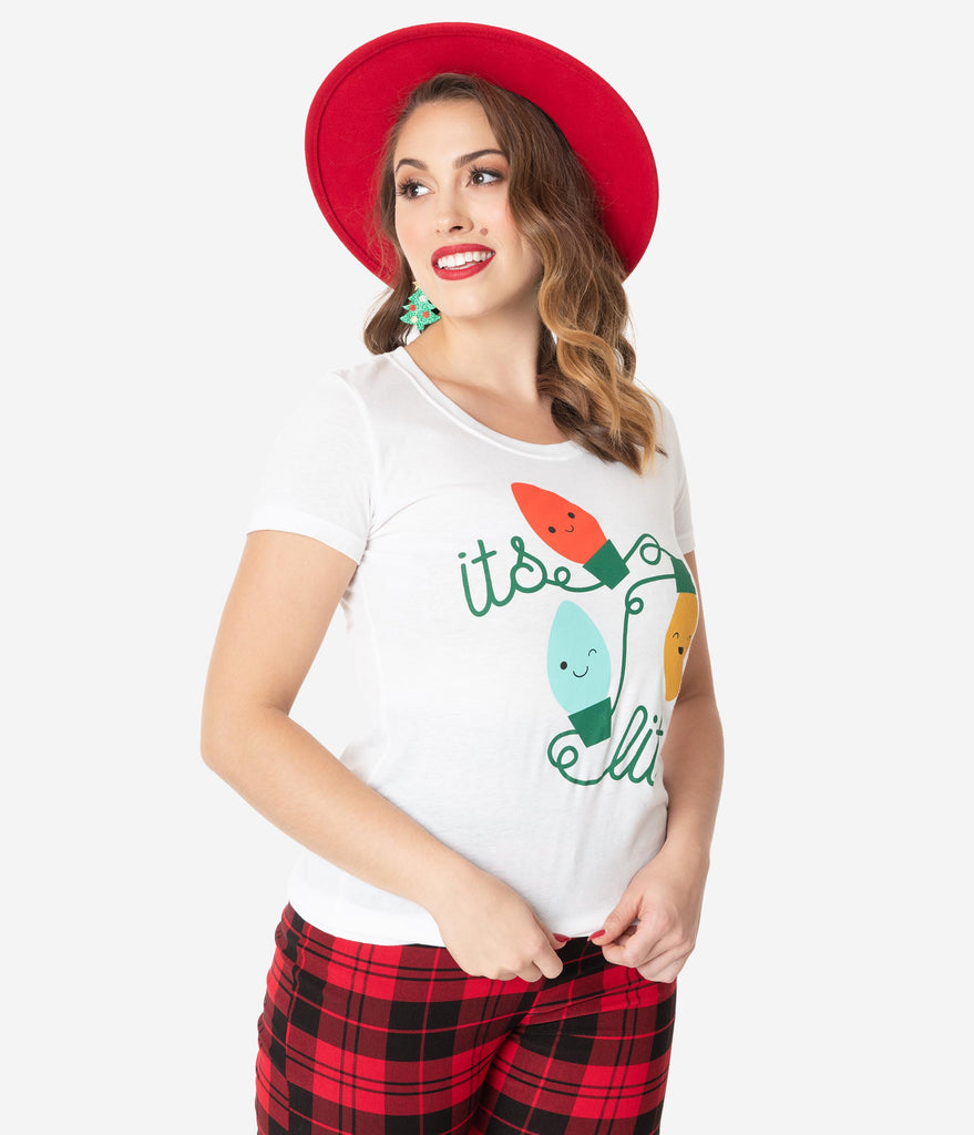 Unique Vintage Its Lit Christmas Lights Womens Tee