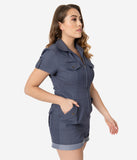 Unique Vintage 1950s Style Blue Denim Mia Romper