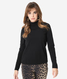 Retrolicious Black Mock Neck Long Sleeve Top