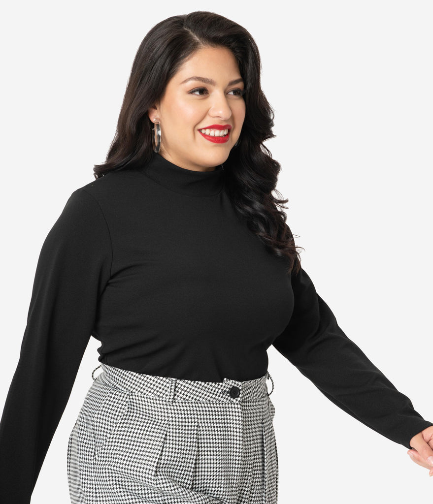 Retrolicious Plus Size Black Mock Neck Long Sleeve Top