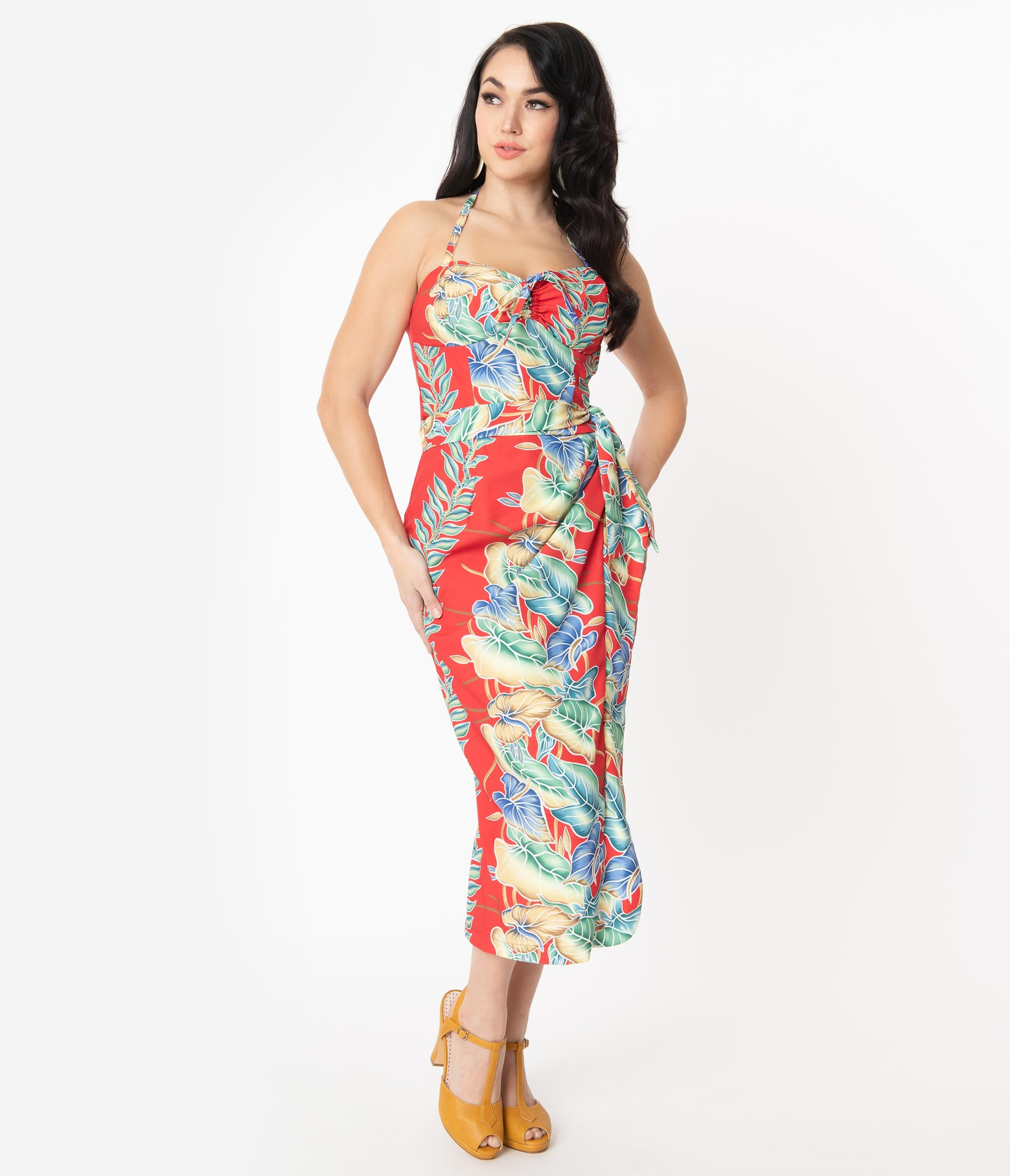 1950s Pencil Dresses & Wiggle Dress Styles Unique Vintage X Kamehameha Red Floral Hawaiian Print Leilani Sarong Dress $128.00 AT vintagedancer.com