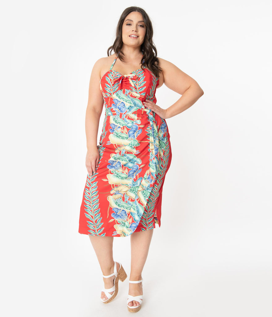 Unique Vintage x Kamehameha Plus Size Red Floral Hawaiian Print Leilani Sarong Dress
