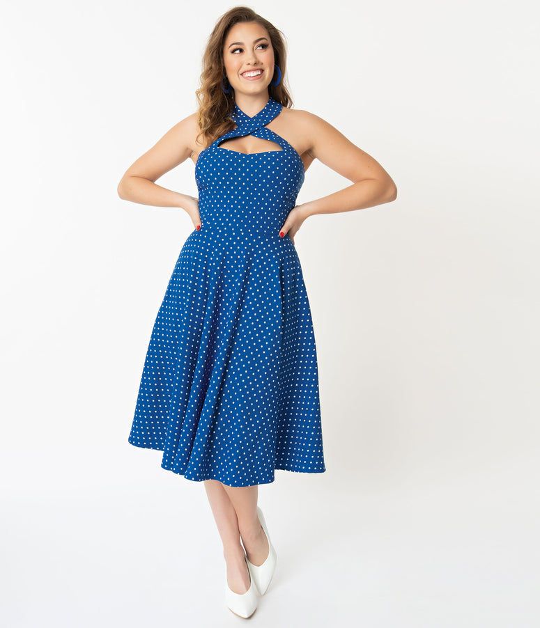 Unique Vintage + Pantone Classic Blue & White Pin Dot Rita Flare Dress