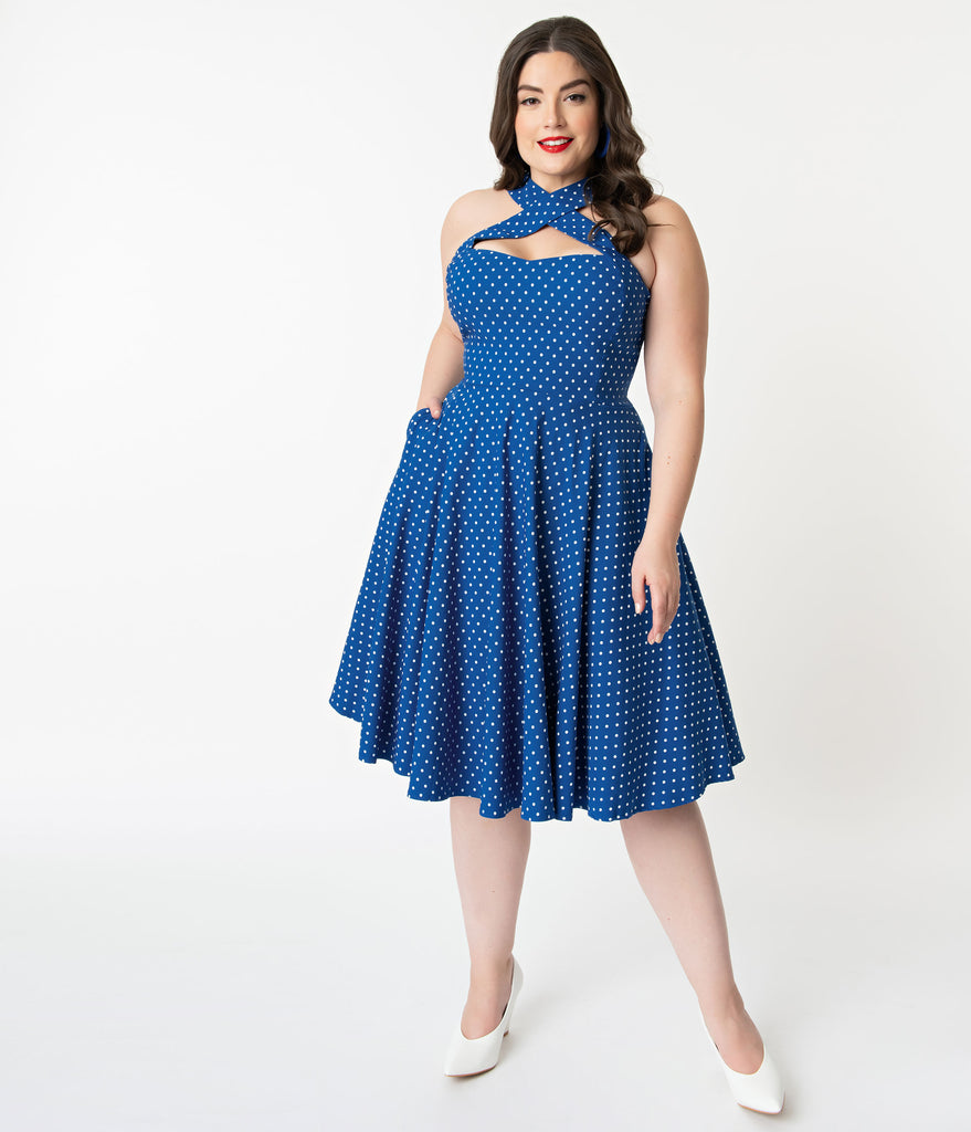 Unique Vintage + Pantone Plus Size Classic Blue & White Pin Dot Rita Flare Dress