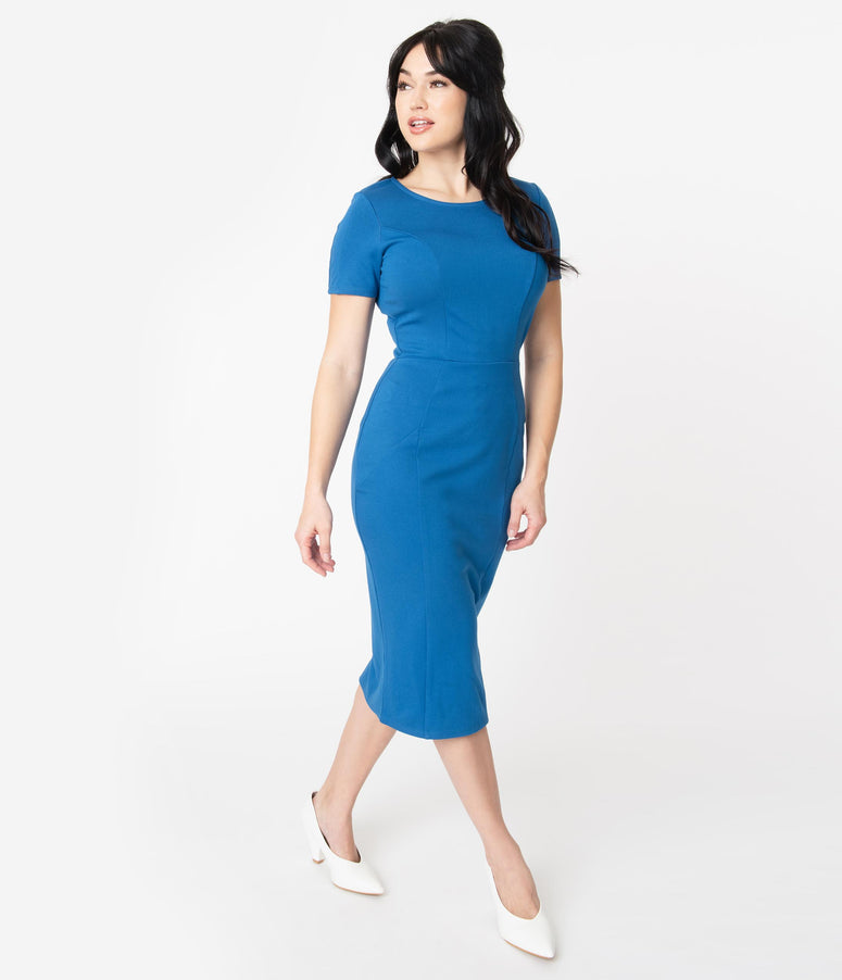 Unique Vintage + Pantone Classic Blue Short Sleeve Mod Wiggle Dress