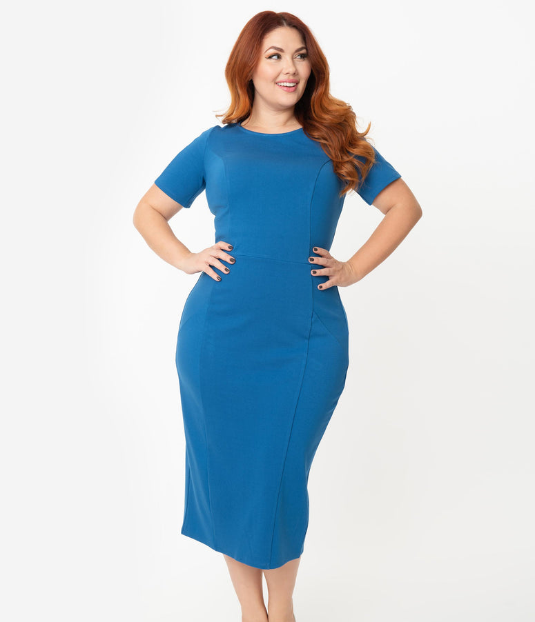 Unique Vintage + Pantone Plus Size Classic Blue Short Sleeve Mod Wiggle Dress