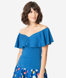 Unique Vintage + Pantone Classic Blue Off Shoulder Ruffle Frenchie Top