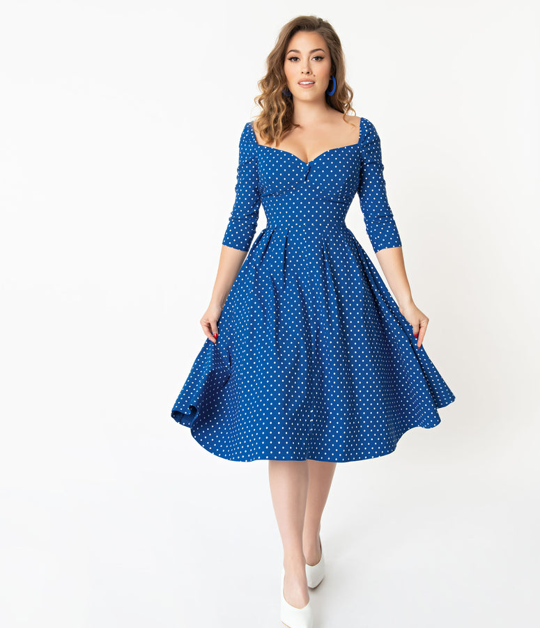 Unique Vintage + Pantone Classic Blue & White Pin Dot Lamar Swing Dress