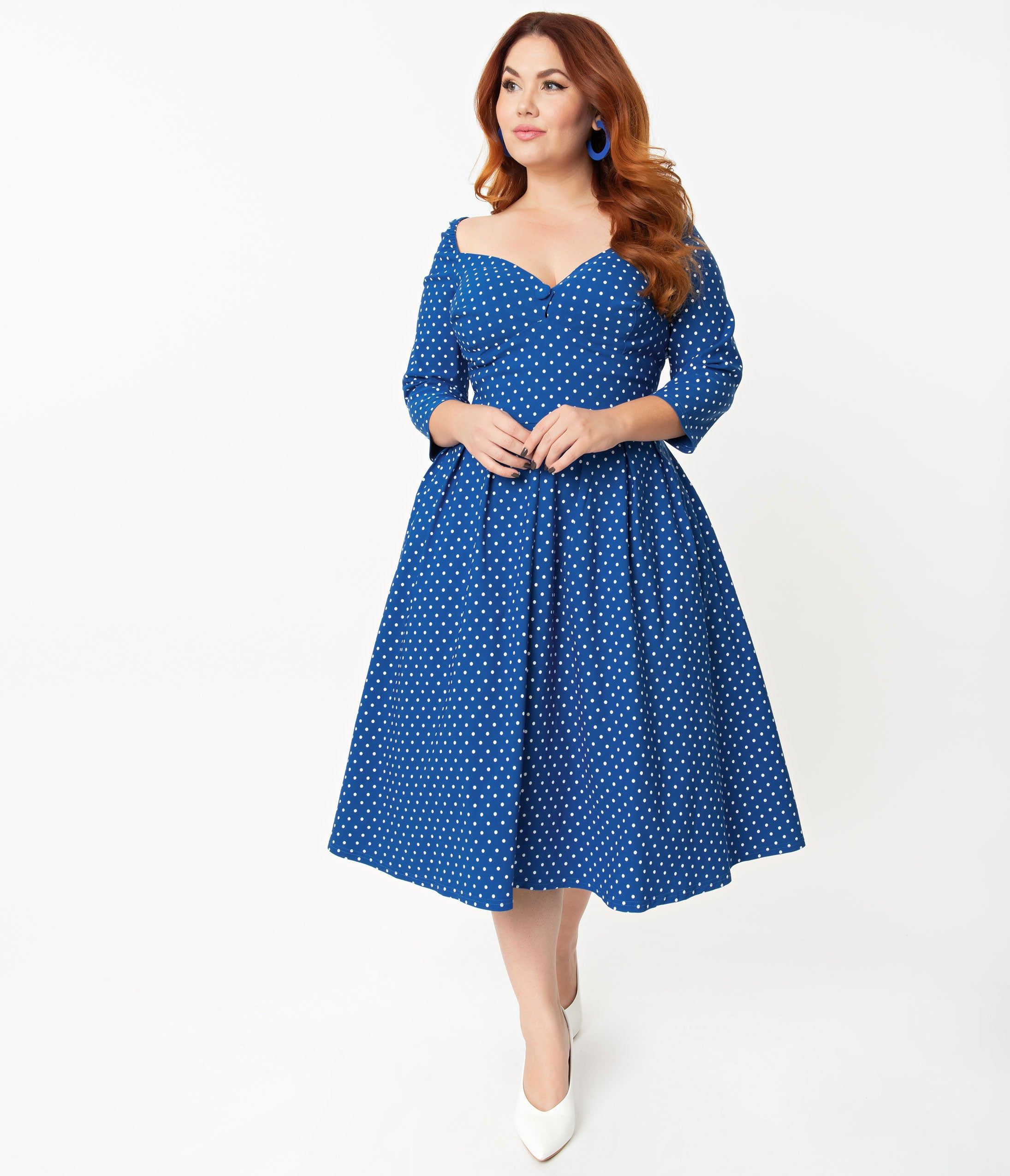 1950s Plus Size Dresses, Swing Dresses Unique Vintage  Pantone Plus Size Classic Blue  White Pin Dot Lamar Swing Dress $110.00 AT vintagedancer.com