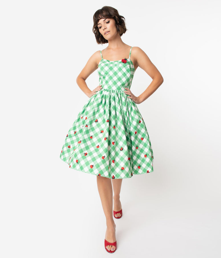 Unique Vintage 1950s Green & White Gingham Ladybug Darcy Swing Dress