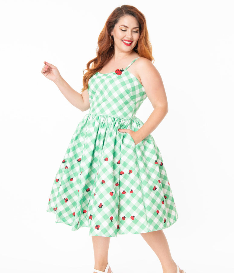 Unique Vintage Plus Size 1950s Green & White Gingham Ladybug Darcy Swing Dress