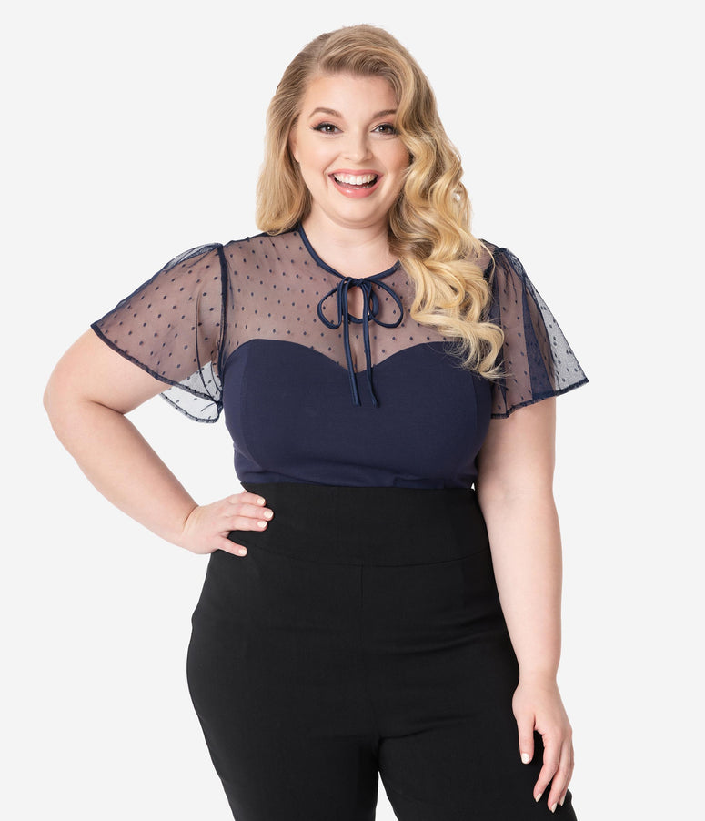 Unique Vintage Plus Size Navy Swiss Dot Mesh Clara Top