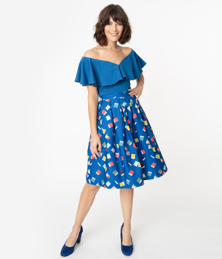 Unique Vintage + Pantone Classic Blue Color Chips Print Jayne Swing Skirt