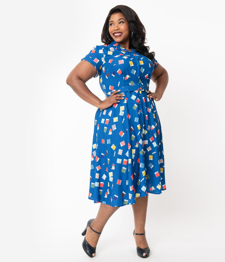 Unique Vintage + Pantone Plus Size Classic Blue Color Chips Print Alexis Shirtdress