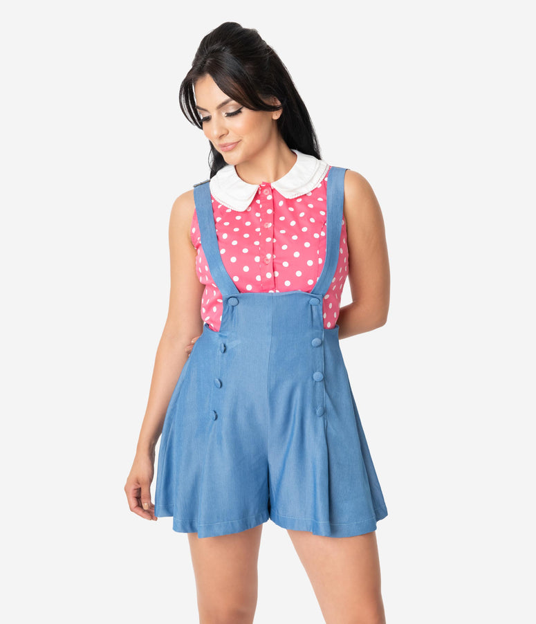 Unique Vintage Watermelon & White Polka Dot Sleeveless Tuscadero Top