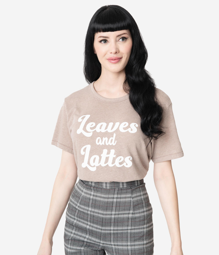 Brown Leaves & Lattes Casual Unisex Tee