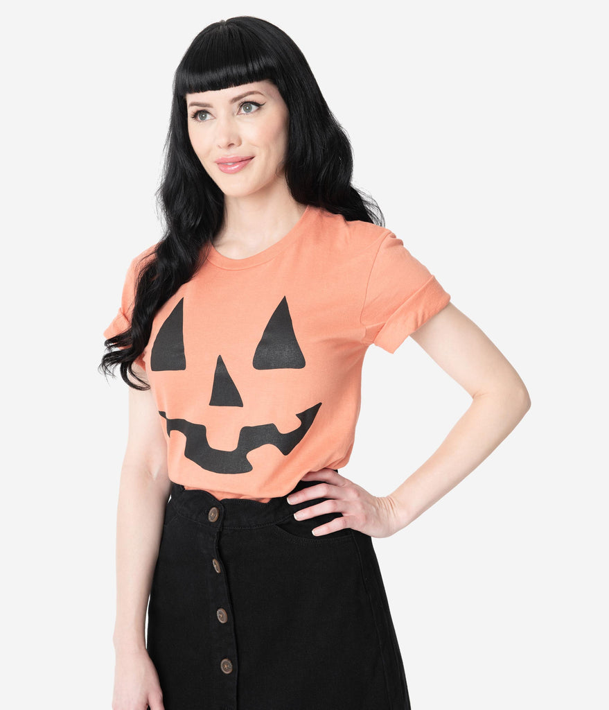 Sunburnt Orange Pumpkin Jack-O-Lantern Face Unisex Tee