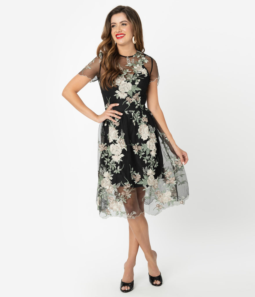 Chi Chi London Black & Ivory Floral Embroidered Cherie Cocktail Dress