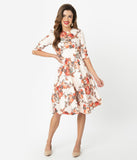 Chi Chi London Cream Textured & Pink Floral Taynie Swing Dress