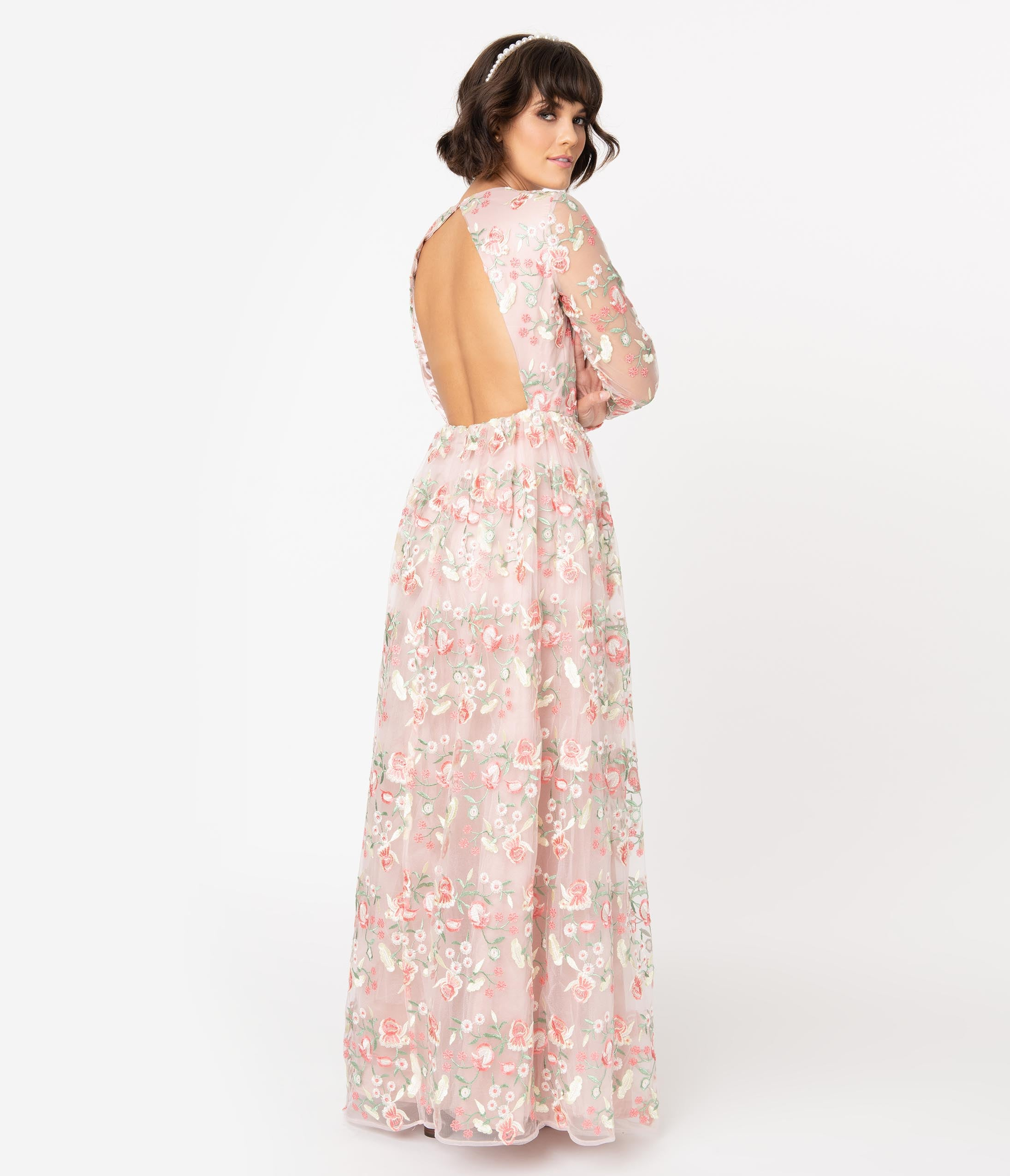 1960s Cocktail, Party, Prom, Evening Dresses Chi Chi London Blush Pink Embroidered Floral Cina Maxi Dress $118.00 AT vintagedancer.com