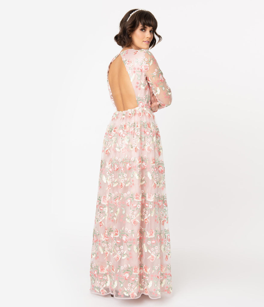 Chi Chi London Blush Pink Embroidered Floral Cina Maxi Dress