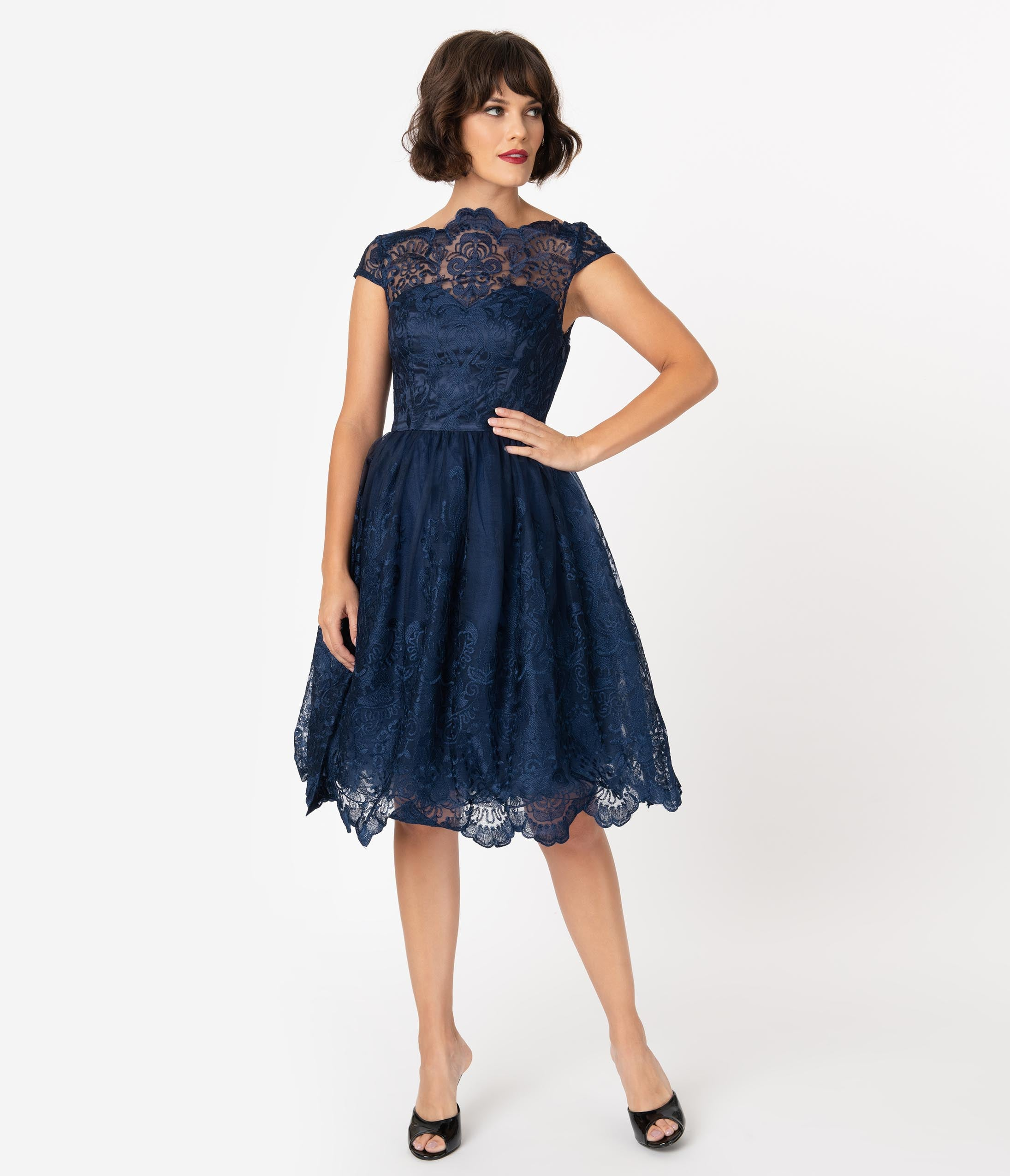 1960s Cocktail, Party, Prom, Evening Dresses Chi Chi London Navy Blue Baroque Embroidery April Tea Dress $98.00 AT vintagedancer.com