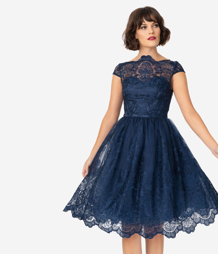 Chi Chi London Navy Blue Baroque Embroidery April Tea Dress