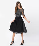Chi Chi London Black & Silver Embroidered Sleeved Mya Cocktail Dress