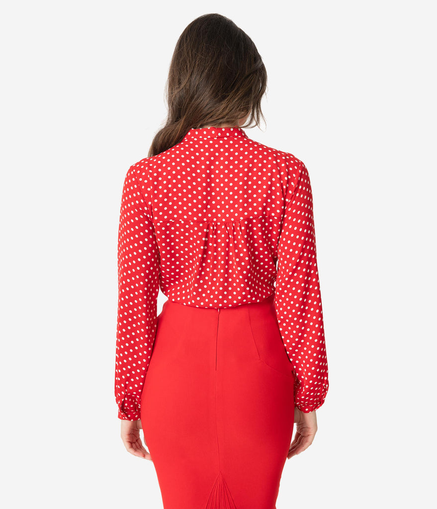 Retro Style Red & Ivory Polka Dot Long Sleeve Bow Tie Blouse