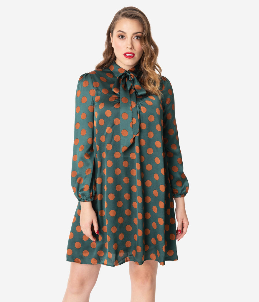 Emerald & Bronze Polka Dot Satin Shift Dress