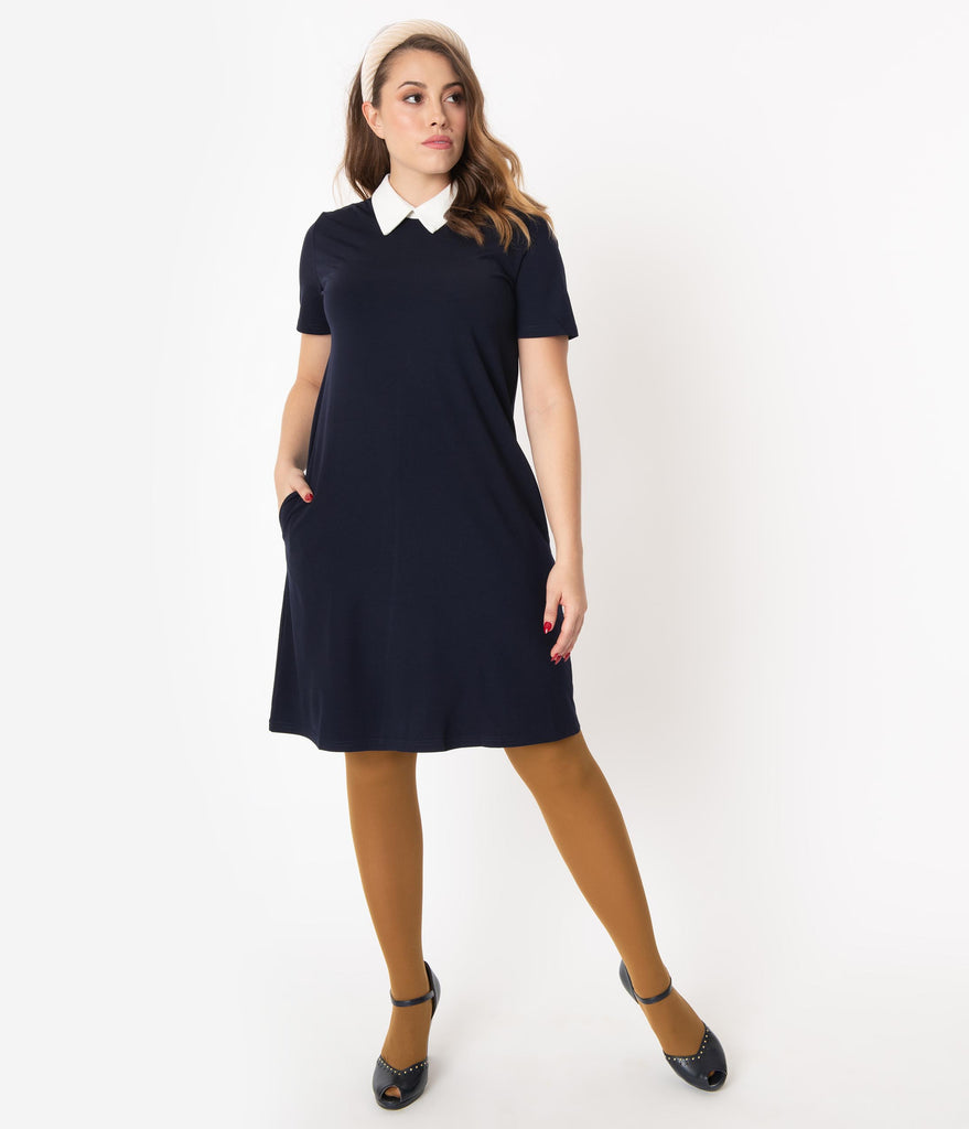 1960s Style Navy & Ivory Collar Shift Dress