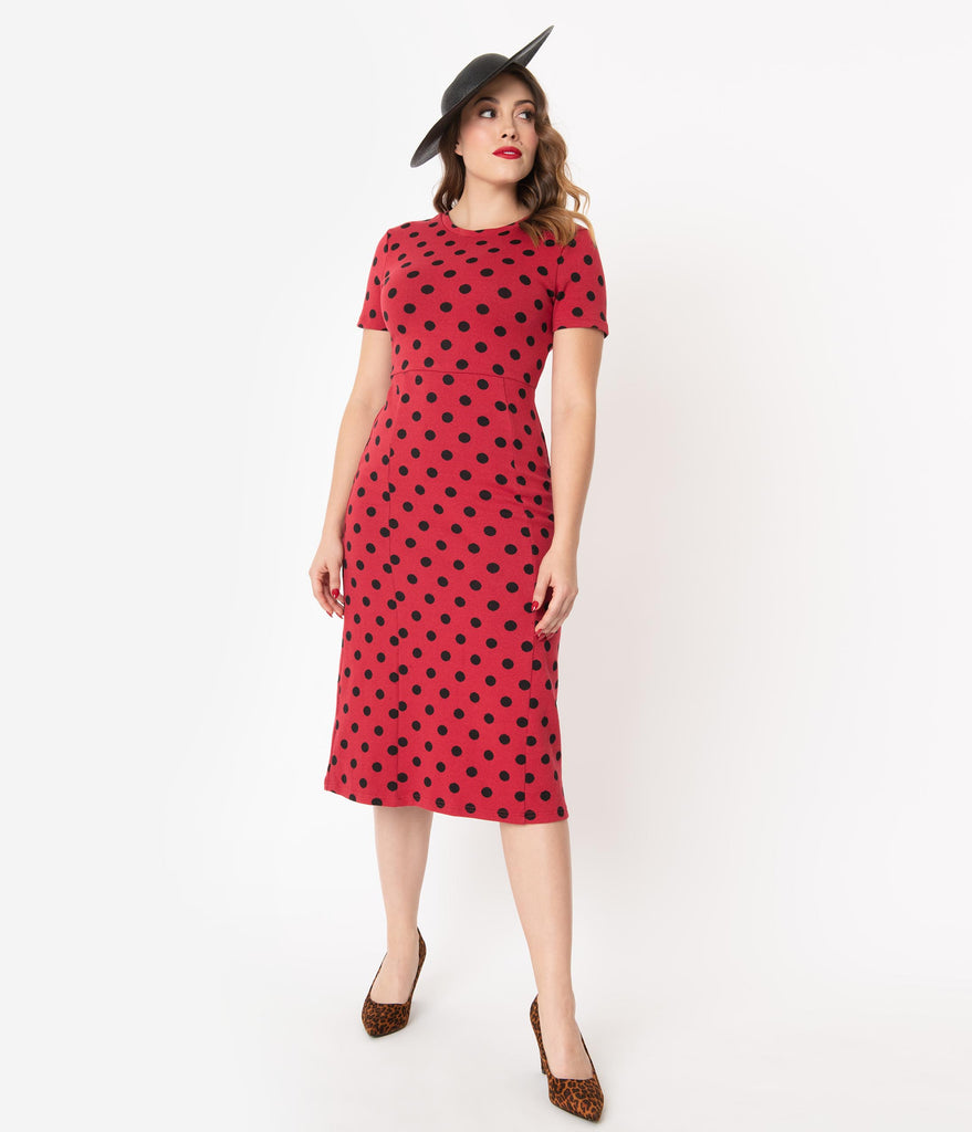 1960s Style Red & Black Polka Dot Wiggle Dress