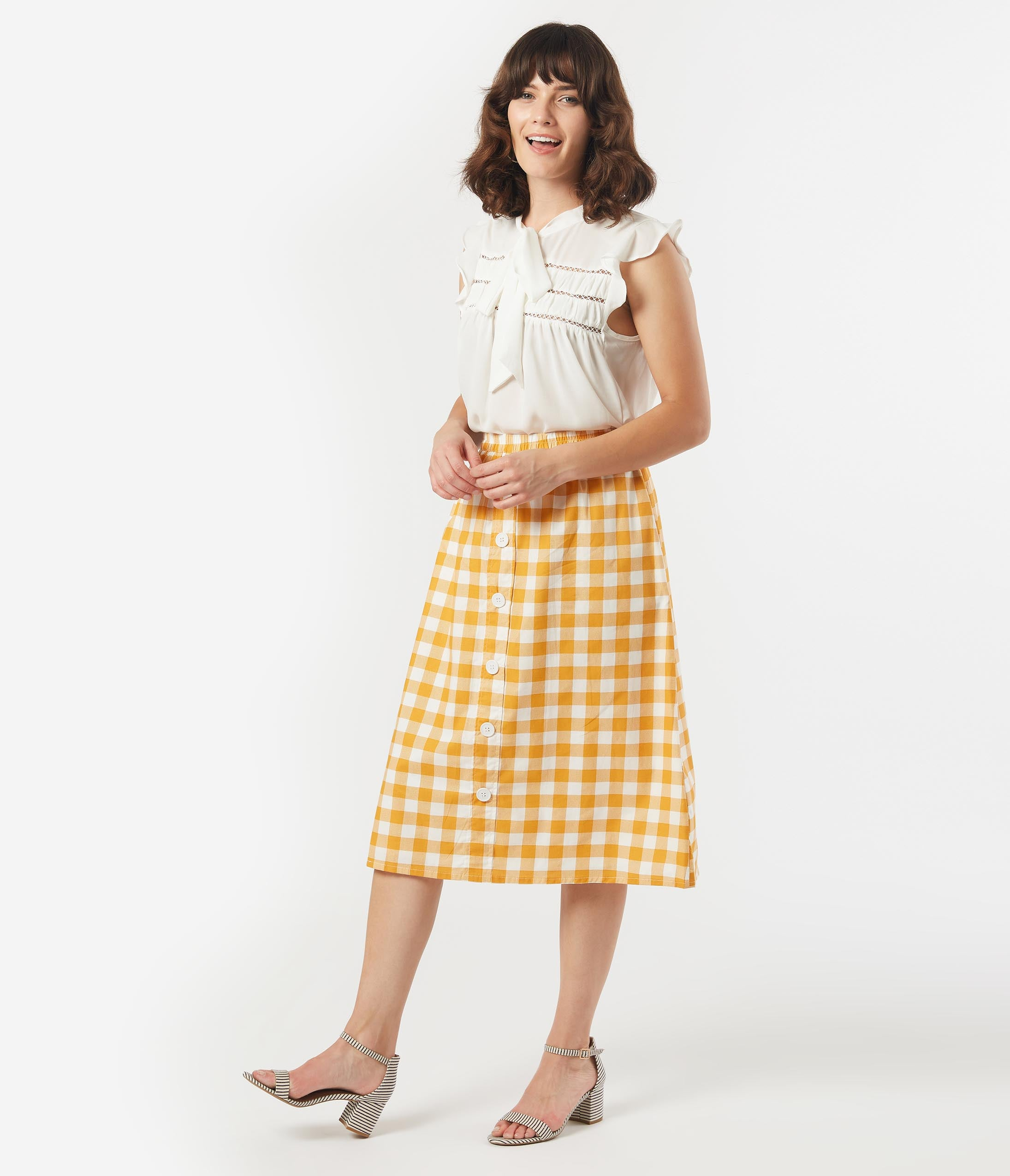 1940s Style Skirts- Vintage High Waisted Skirts 1940S Style Mustard  White Gingham Midi Skirt $42.00 AT vintagedancer.com