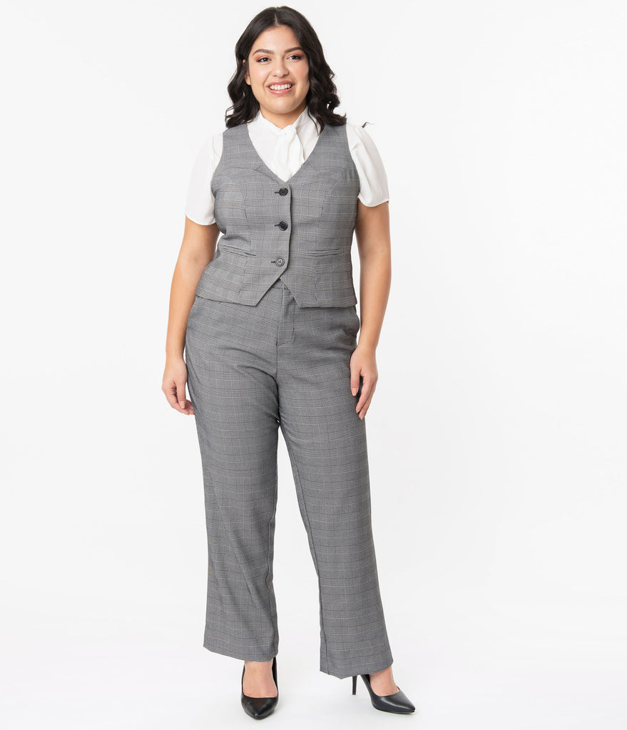 Unique Vintage Plus Size Grey Glen Check Dietrich Pants