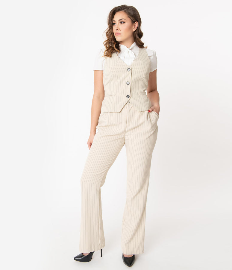 Unique Vintage Cream & Black Pinstripe Dietrich Pants