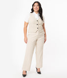 Unique Vintage Plus Size Cream & Black Pinstripe Dietrich Pants