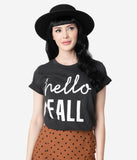 Vintage Style Dark Grey Hello Fall Unisex Tee