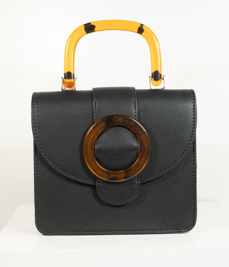 1970s Style Black Leatherette Top Handle Purse