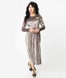 Retro Style Taupe Velvet Pleated Modest Midi Dress