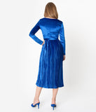 Retro Style Royal Blue Velvet Pleated Modest Midi Dress