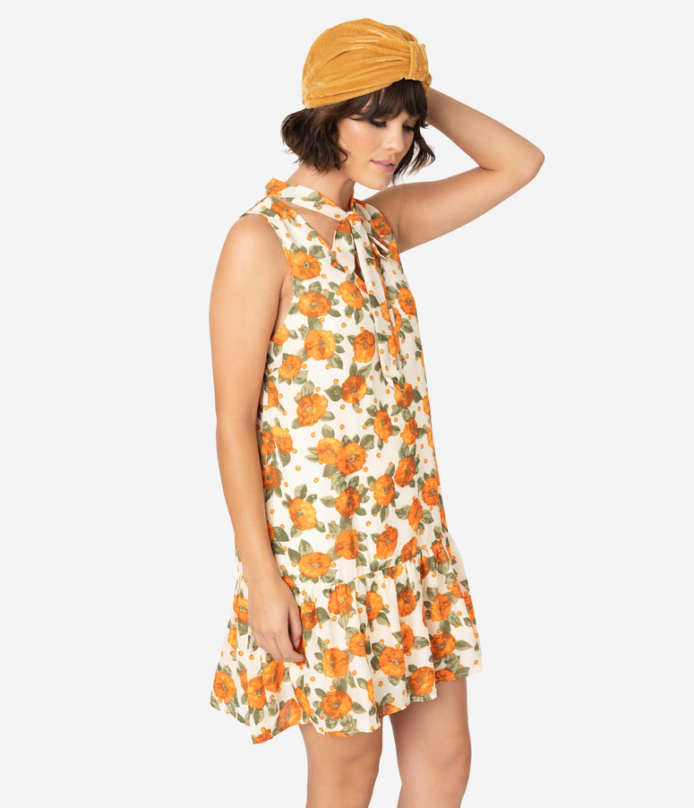 1920s Style Cream & Orange Floral Print Drop Waist Dress