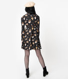 Sourpuss Black Spooky Treats Print Sleeved Fit & Flare Dress