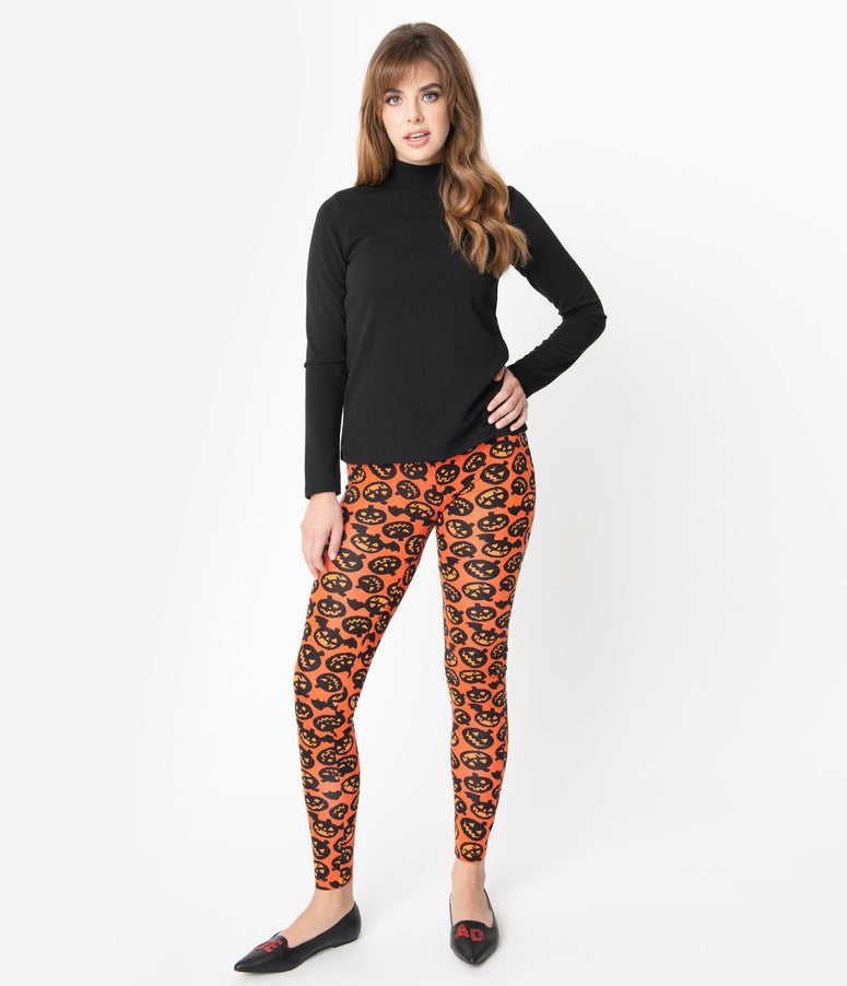 Sourpuss Orange & Black Batty Pumpkin Print Leggings