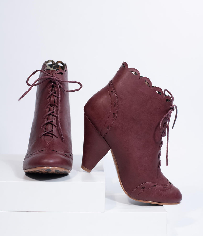 Bettie Page Burgundy Leatherette Eddie Lace Up Booties