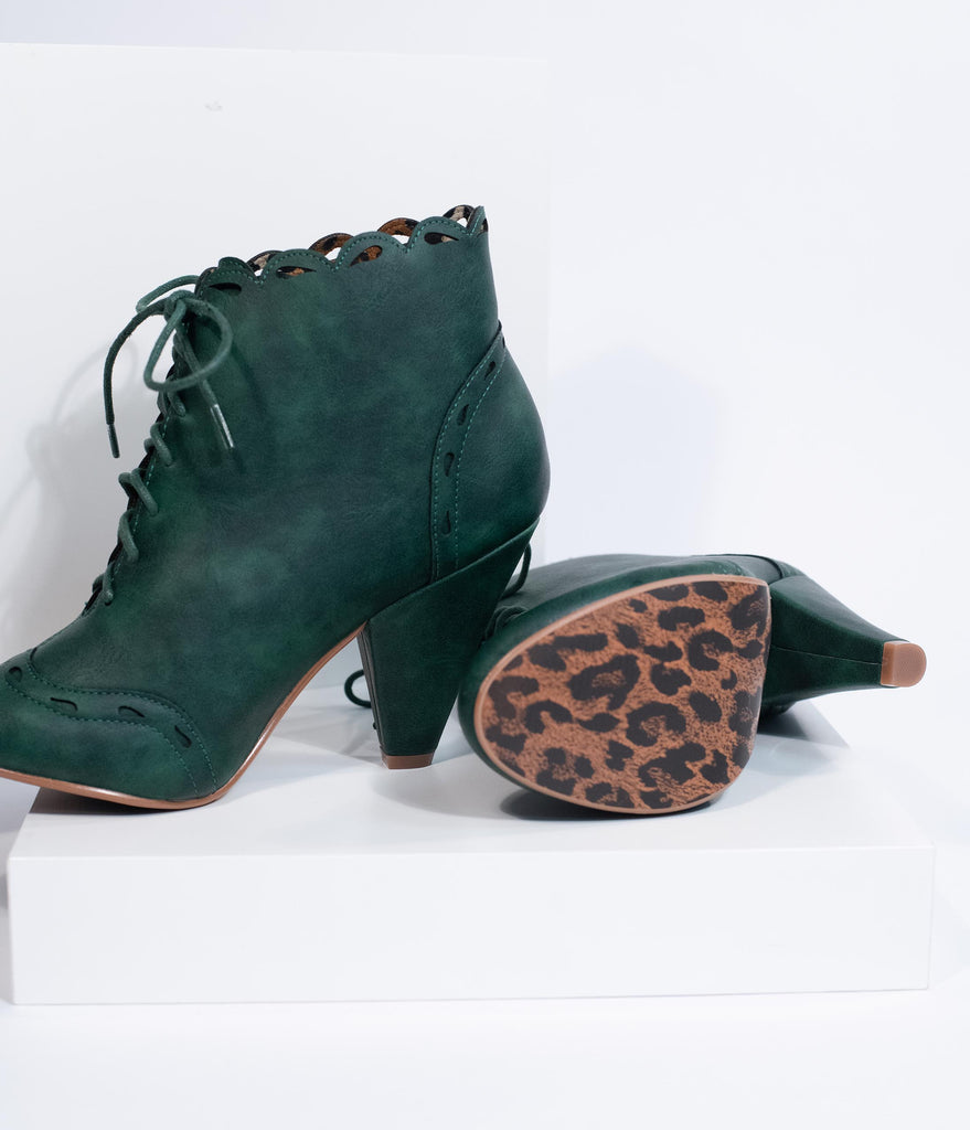 Bettie Page Emerald Green Leatherette Eddie Lace Up Booties