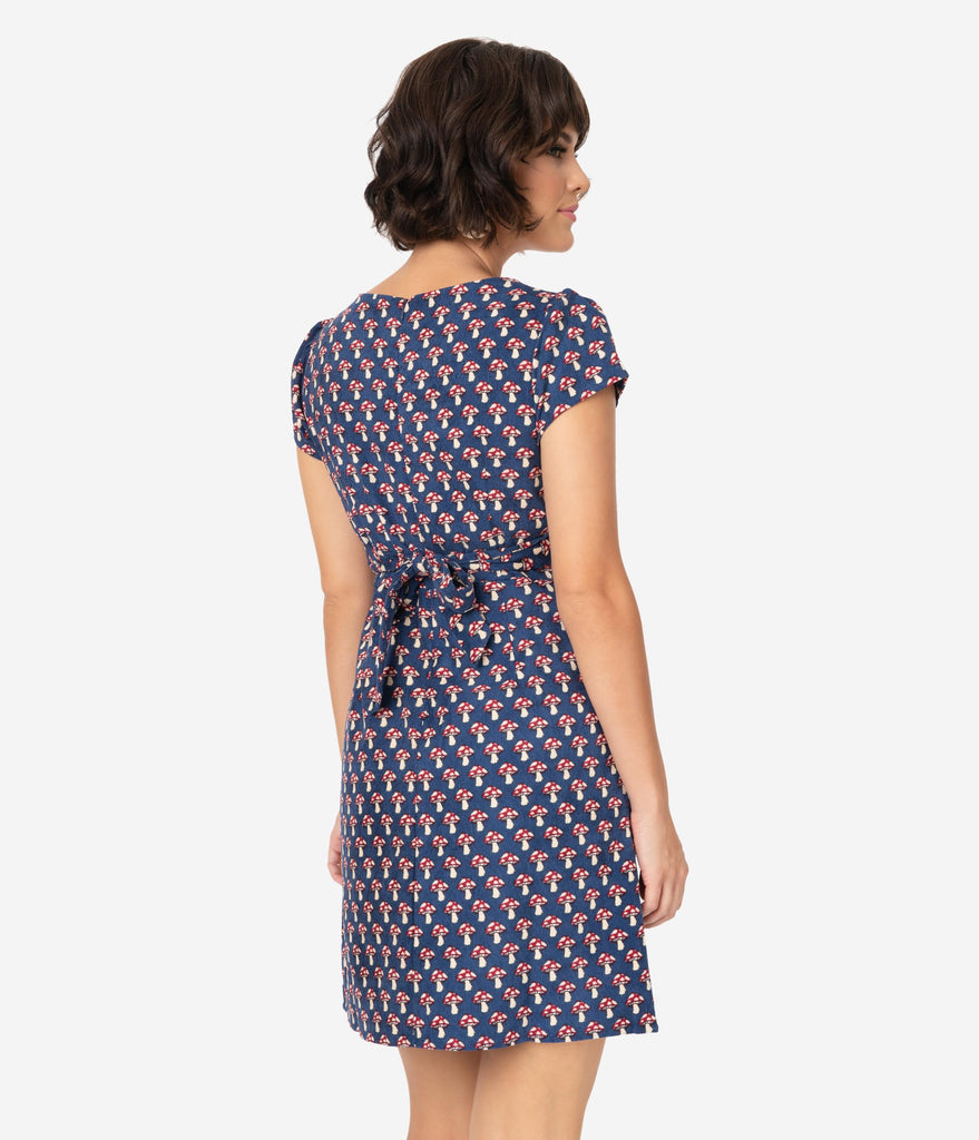 Navy Corduroy & Mushroom Print Short Sleeve Fit & Flare Dress